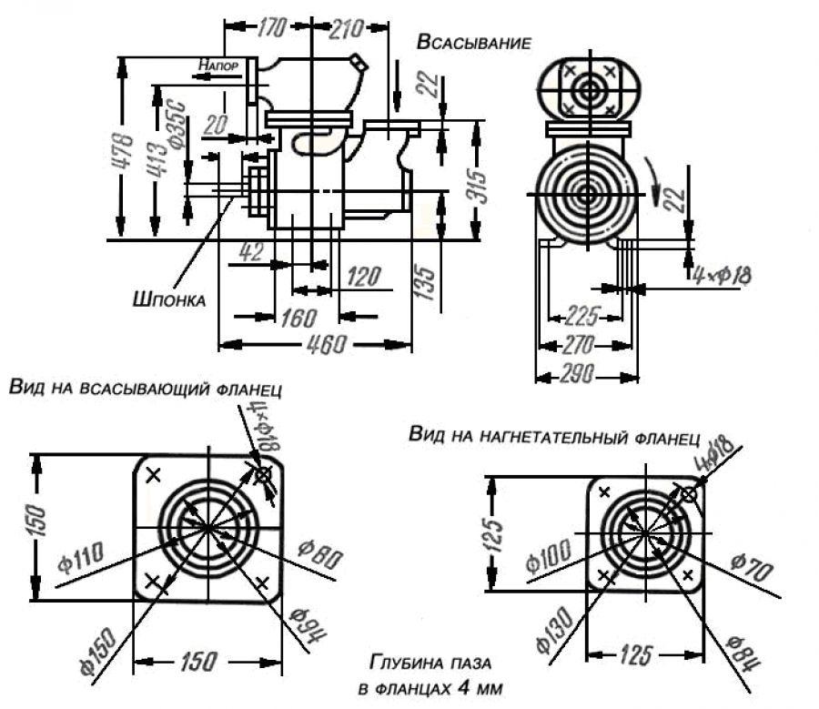 Габаритные размеры насоса ВС-80,ВС-80.00, ВС-80.01, СВН-80, СВН-80А, 1СВН-80А, АСВН-80А, 1АСВН-80А,
